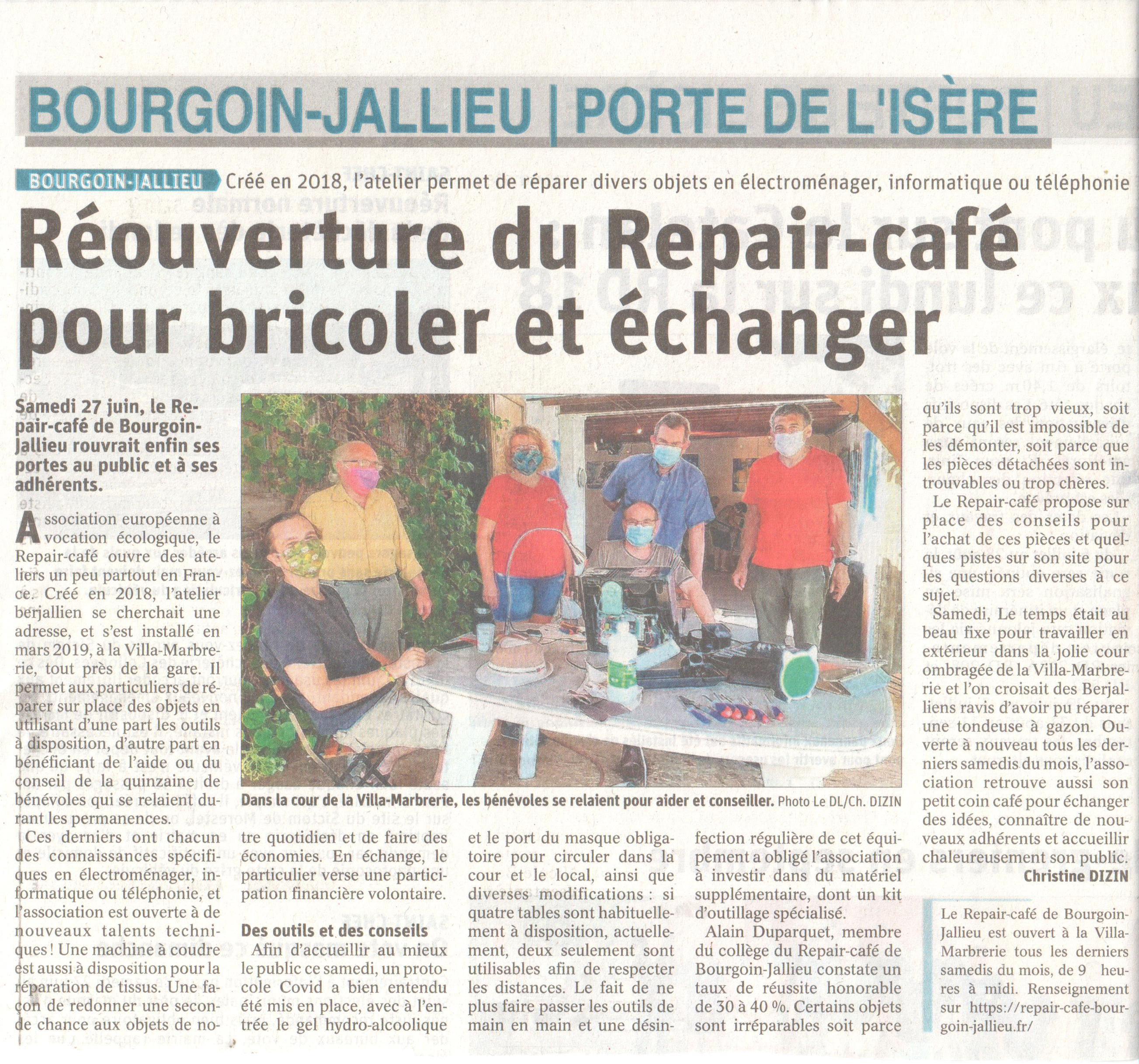 article du Dauphiné Libéré du 28 juin